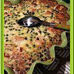 recette Clafoutis au saumon, courgettes et petits pois