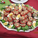 recette Pyramide de tomates bien entamée !!!