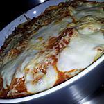 recette Gratins de spaghettis fourrés aux knackis/mozzarella
