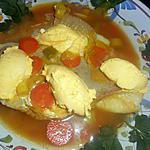 recette Filet de lieu noir au bouillon safrané et creme fouettée