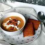 recette Velouté de châtaignes tout doux, chèvre frais et croutons de pain d'épices