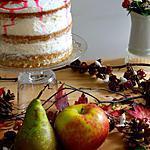 recette Naked cake aux épices d'automne, compotée pommes & poires à la vanille, chantilly mascarpone et airelles glacées