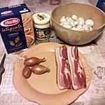 recette pates,lard fumé,champignons.