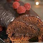 recette BUCHE FONDANTE AU CHOCOLAT ET FRAMBOISES