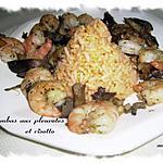 recette gambas aux pleurotes et risotto