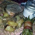recette Rôtis au pommes de terre au sirop de noisette et au champignons, fagots d'haricot vert et sauce au foie gras