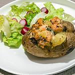 recette Pommes de terre au four au saumon et champignons
