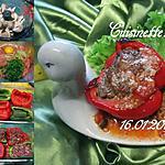 recette Poivrons farcis bœuf/champignons.