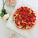 recette Macaron géant framboise rhubarbe, crème chocolat blanc yaourt