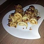 recette Mini crêpes roulé au nutella et pépites de pralin