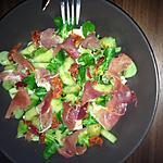 recette Salade composée :mâche - concombre - Serrano - chorizo - chèvre