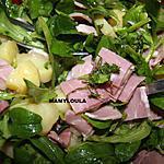 """recette Salade de pommes de terre/mâche/jambon """"anti-cholestérol"""""""