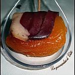 Cuillères apéritive au fois gras et à l'abricot enrobé de magret
