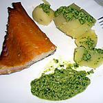 recette Filet de Haddock poché au lait et ses pommes de terre vapeur nappées de pesto de roquette