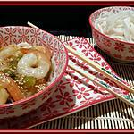 recette Crevettes sauce Aigre-Douce et pâte de riz.
