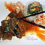 recette porc au caramel , vermicelles de riz, litchis champignons en sauce et ses mendiants