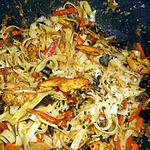recette Nouilles de riz sautées au filet de dinde