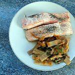 recette Pavé de saumon et légumes sautés (compatible dukan)