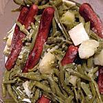 recette Haricot vert , lamelles de pommes de terre , saucisses de volailles , sauce curry emmental
