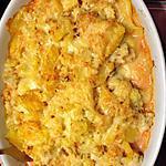 recette Gratin de pommes de terre , choux fleurs , sauce à la tomate  et morceaux de saint marcelin