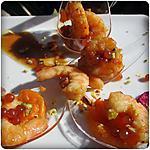 recette Cuillères cocktail de gambas + suprêmes de mandarines, avec des éclats de pistaches