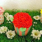 recette Cupcakes en fleurs à la fraise et au coquelicot
