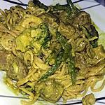 recette Nouille chinoise au porc curry et lait de coco