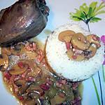 recette Pigeons champignons et lardons..
