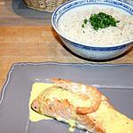 recette Pavé de Saumon à l'unilatéral Sauce crème Curry et Safran