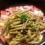 recette Poêlée de haricots verts, tomates, Pdt et tomates aux lardons