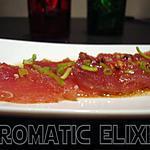 recette Carpaccio de thon rouge au poivre rose et vinaigre balsamique