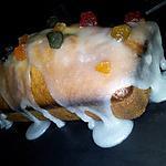 recette Cake aux fruits confits et son glaçage fondant citronée