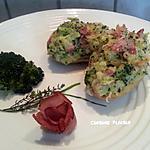 recette Pomme de terre fourrée et gratinée au jambon fumé, brocoli, fromage
