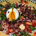recette OEUF MOLLET SUR SALADE PISSENLITS ET LARDONS
