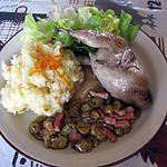 recette Cailles aux raisins et purée de pommes de terre à la clémentine