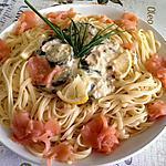 recette Linguine aux courgettes rehaussé de saumon fumé .......