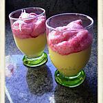 recette neige de framboise sur  mousse amande mascarpone