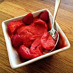 recette Sorbet Fraise-passion ( sans sucre, sans sorbetière )