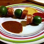 recette Brochette sucré salé knacki et kiwi et son trio de sauce