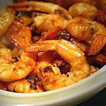 Crevettes sautées à l'ail, curry, gingembre et Sauce Soja