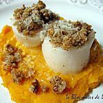 recette St Jacques en croûte de noix de Pécan, purée de butternut au gingembre