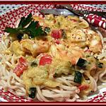recette Nouilles japonaises aux gambas pimentées et mascarpone.