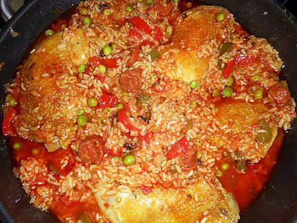 Recette de cuisses de poulet riz au chorizo - Cuisse de poulet calories ...