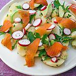 recette Salade de pomme de terre, avocat et truite fumée
