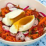 recette Salade de carottes rapées au chorizo et oeuf mollet