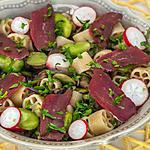 recette Salade de pâtes aux fèves, champignons et magret