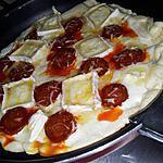 recette Pizza express cuit à la poêle au chorizo-chévre et miel