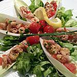 recette Feuilles de chicon (endive) aux crevettes grises
