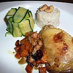 recette poulet au noix de cajou, et  au ras-el-hanout.