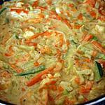recette crevettes au curry et éffilochée de légumes
